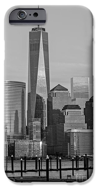 United States iPhone Cases - World Trade Center Freedom Tower NYC BW iPhone Case by Susan Candelario