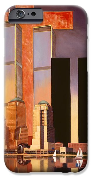 Twin Towers Nyc Paintings iPhone Cases - World Trade Center Memorial iPhone Case by Art James West