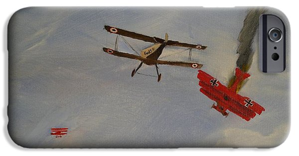 Wwi Paintings iPhone Cases - World War I Dogfight 3 Planes in Battle iPhone Case by Carl S Kralich