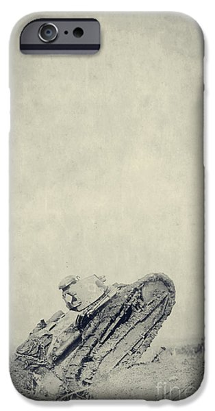 World War One Photographs iPhone Cases - World War I Tank in trench warfare iPhone Case by Edward Fielding