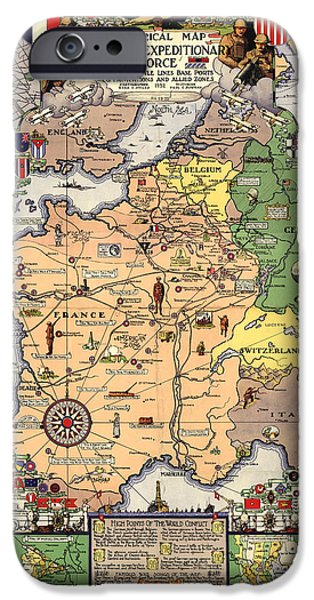 Antiques iPhone Cases - World War II Map iPhone Case by Gary Grayson