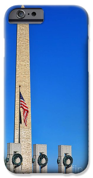 D.c. iPhone Cases - World War II Memorial and Washington Monument iPhone Case by Olivier Le Queinec