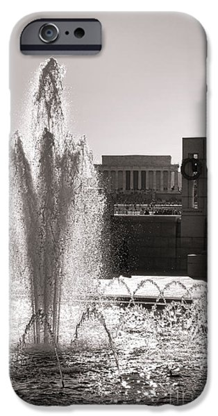 D.c. iPhone Cases - World War II Memorial Fountain iPhone Case by Olivier Le Queinec