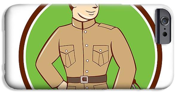 World War One iPhone Cases - World War One British Officer Circle Cartoon  iPhone Case by Aloysius Patrimonio