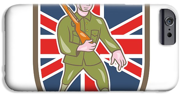 World War One iPhone Cases - World War One Soldier British Marching Cartoon Shield iPhone Case by Aloysius Patrimonio