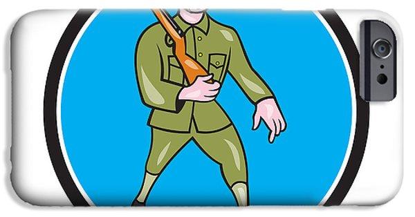 World War One iPhone Cases - World War One Soldier British Marching Circle Cartoon iPhone Case by Aloysius Patrimonio