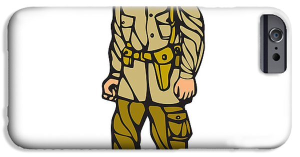 Block Print iPhone Cases - World War Two Soldier Standing Linocut iPhone Case by Aloysius Patrimonio