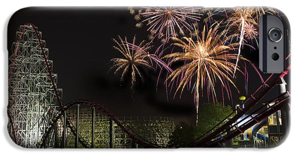 Fireworks Photographs iPhone Cases - Worlds of Fun - Summer Nights iPhone Case by Thomas Zimmerman