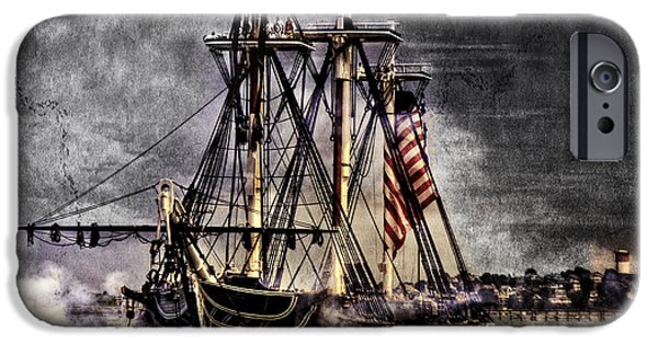 Sailboats iPhone Cases - Worlds oldest commissioned warship afloat - USS CONSTITUTION iPhone Case by Ludmila Nayvelt