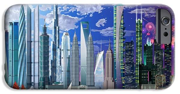 Fireworks Photographs iPhone Cases - Worlds Tallest Buildings iPhone Case by Garry Walton