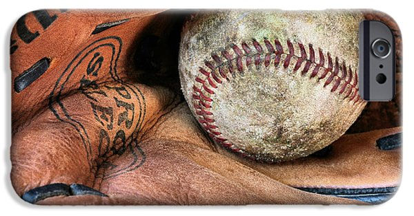 Ball And Glove iPhone Cases - Worn In iPhone Case by JC Findley