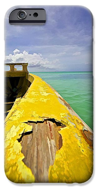 Water Vessels iPhone Cases - Worn Yellow Fishing Boat of Aruba iPhone Case by David Letts