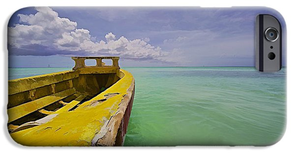 Water Vessels iPhone Cases - Worn Yellow Fishing Boat of Aruba II iPhone Case by David Letts