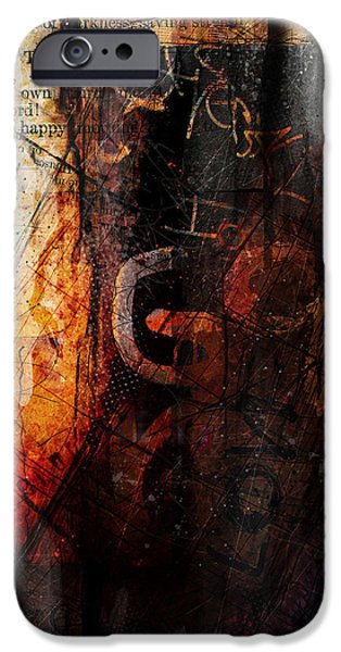 Contemporary Abstract iPhone Cases - Wounded  iPhone Case by Gary Bodnar