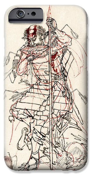 Wine Sipping iPhone Cases - WOUNDED SAMURAI DRINKING SAKE c. 1870 iPhone Case by Daniel Hagerman