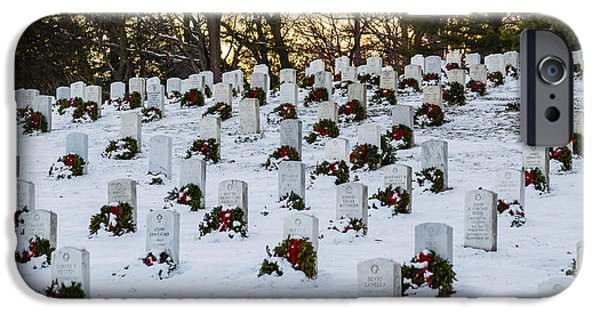 Recently Sold -  - Headstones iPhone Cases - Wreaths at Arlington National Cemetery iPhone Case by Karen Saunders