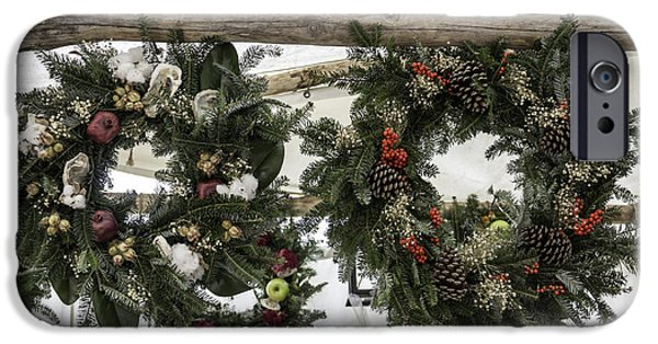 Historic Triangle iPhone Cases - Wreaths for Sale Colonial Williamsburg iPhone Case by Teresa Mucha