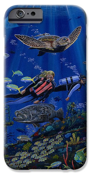 Atlantis iPhone Cases - Wreck Divers Re0014 iPhone Case by Carey Chen