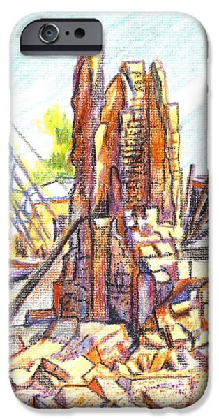 Torn Drawings iPhone Cases - Wrecking Ball iPhone Case by Kip DeVore