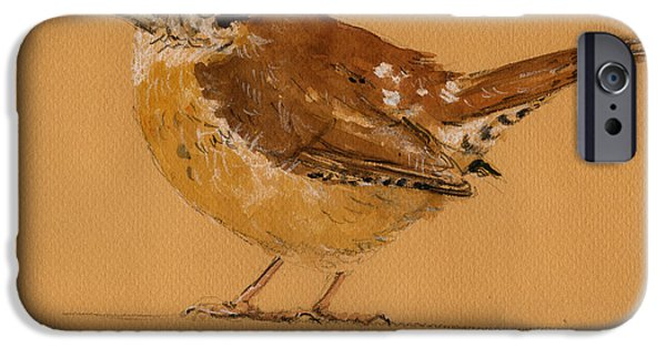 Original Watercolor iPhone Cases - Wren bird iPhone Case by Juan  Bosco