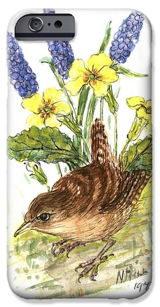 Primroses iPhone Cases - Wren In Primroses Wc On Paper iPhone Case by Nell Hill