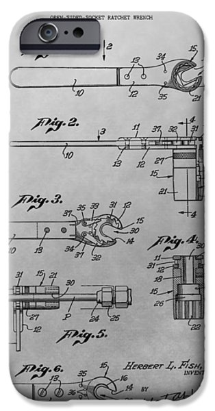 Mechanics Drawings iPhone Cases - Wrench Patent Drawing iPhone Case by Dan Sproul