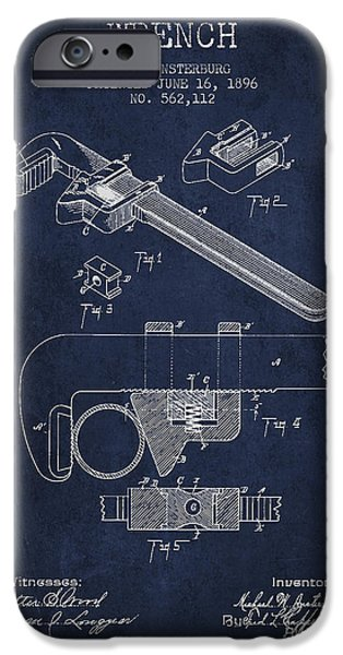 Monkey iPhone Cases - Wrench patent Drawing from 1896 iPhone Case by Aged Pixel