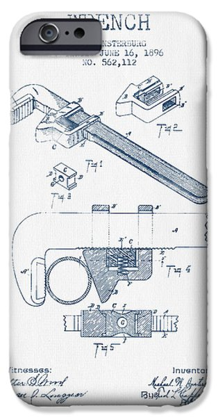 Mechanics Digital Art iPhone Cases - Wrench patent Drawing from 1896- Blue Ink iPhone Case by Aged Pixel
