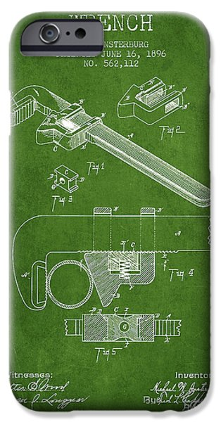 Mechanics Digital Art iPhone Cases - Wrench patent Drawing from 1896 - Green iPhone Case by Aged Pixel