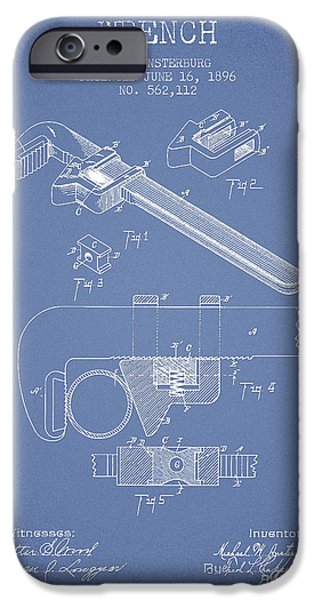 Monkey iPhone Cases - Wrench patent Drawing from 1896 - Light Blue iPhone Case by Aged Pixel