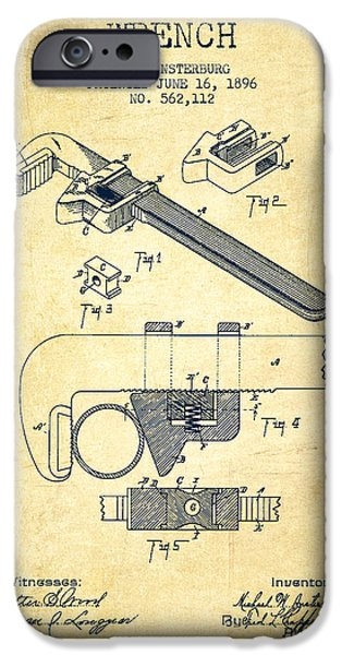 Monkey iPhone Cases - Wrench patent Drawing from 1896 - Vintage iPhone Case by Aged Pixel