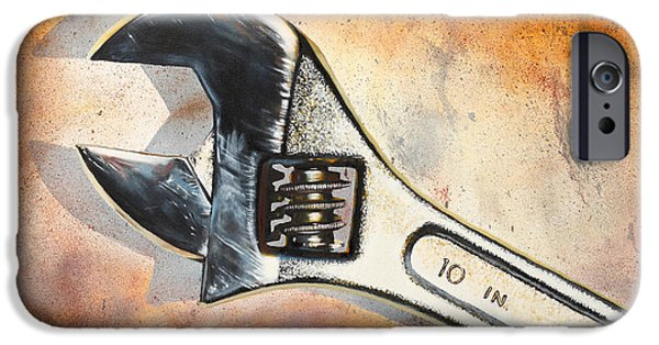 Mechanics Paintings iPhone Cases - Wrenched iPhone Case by Karl Melton