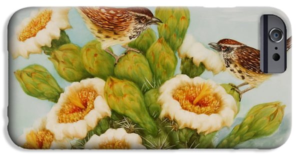 Summer Celeste iPhone Cases - Wrens on Top of Tucson iPhone Case by Summer Celeste
