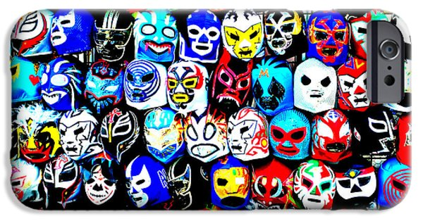 Wwf iPhone Cases - Wrestling Masks of Lucha Libre Altered iPhone Case by Jim Fitzpatrick