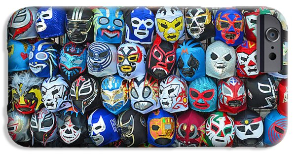 Wwf iPhone Cases - Wrestling Masks of Lucha Libre iPhone Case by Jim Fitzpatrick