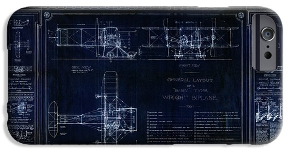 Aeronautical iPhone Cases - Wright Bros roadster Biplane Blueprint - 1908 iPhone Case by Daniel Hagerman