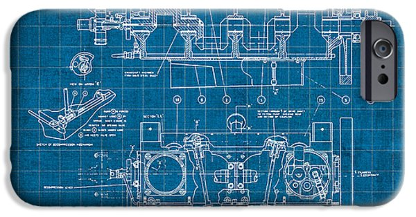 Aero iPhone Cases - Wright Brothers Aero Engine Vintage Patent Blueprint iPhone Case by Design Turnpike