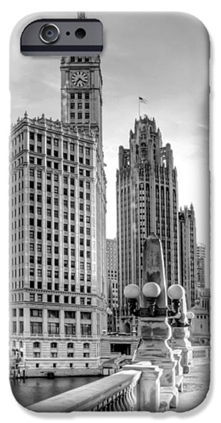 Buildings iPhone Cases - Wrigley and Tribune iPhone Case by Scott Norris
