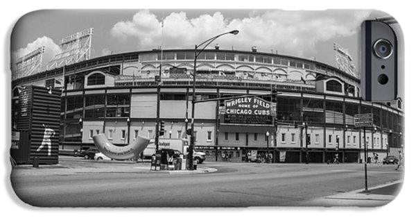 Wrigley iPhone Cases - Wrigley Black and White outside  iPhone Case by John McGraw