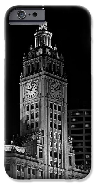 Wrigley iPhone Cases - Wrigley Building at Night iPhone Case by Frozen in Time Fine Art Photography