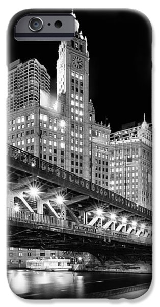 Gothic iPhone Cases - Wrigley Building at Night in Black and White iPhone Case by Sebastian Musial