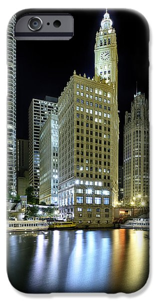 Gothic iPhone Cases - Wrigley Building at Night  iPhone Case by Sebastian Musial