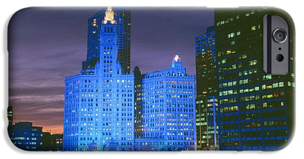 Winter Light iPhone Cases - Wrigley Building, Blue Lights, Chicago iPhone Case by Panoramic Images