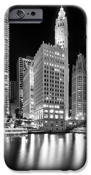 Wrigley iPhone Cases - Wrigley Building Reflection in Black and White iPhone Case by Sebastian Musial