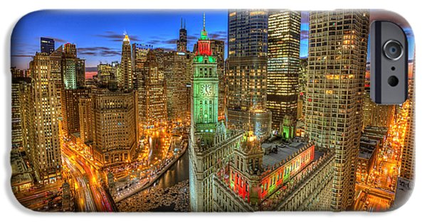 Wrigley Digital Art iPhone Cases - Wrigley Building View iPhone Case by Leslie McLain