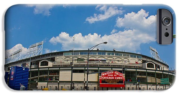 Chicago Cubs iPhone Cases - Wrigley Field and Clouds iPhone Case by John McGraw