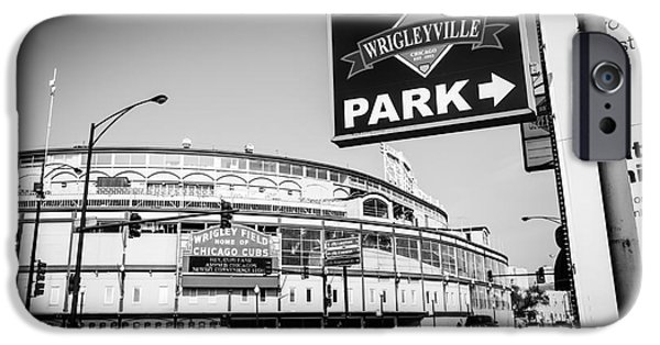 Wrigley iPhone Cases - Wrigley Field and Wrigleyville Signs in Black and White iPhone Case by Paul Velgos