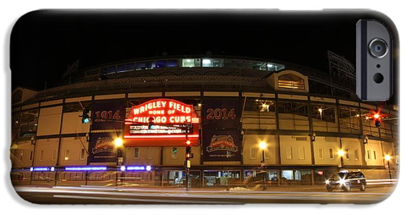 Chicago Cubs iPhone Cases - Wrigley field at night iPhone Case by Michael Paskvan