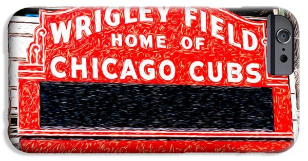Wrigley iPhone Cases - Wrigley Field Chicago Cubs Sign Digital Painting iPhone Case by Paul Velgos
