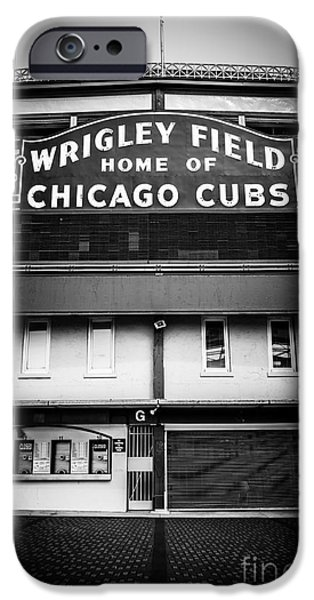 Old Photos iPhone Cases - Wrigley Field Chicago Cubs Sign in Black and White iPhone Case by Paul Velgos